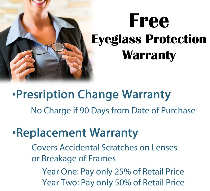 Free Eye Glasses and Lens Warranty